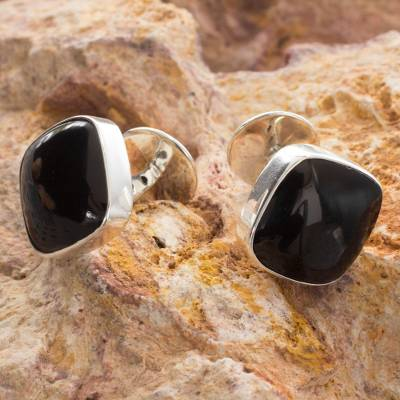 Obsidian cufflinks, 'Night Magic' - Men's Mexican Modern Fine Silver Obsidian Cufflinks