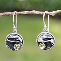 Peridot dangle earrings, 'Taxco Dawn' - Hand Crafted Women's Fine Silver Peridot Earrings
