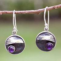 Amethyst dangle earrings, 'Taxco Dusk' - Amethyst and Silver 950 Handmade Mexican Dangle Earrings