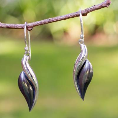 Silver dangle earrings, 'Sinuous' - Collectible Taxco SilverDangle Earrings from Mexico