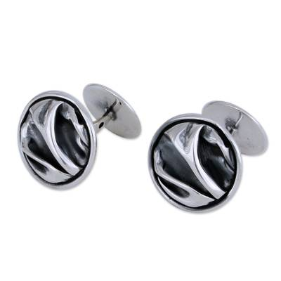Unique Modern Fine Silver Cufflinks