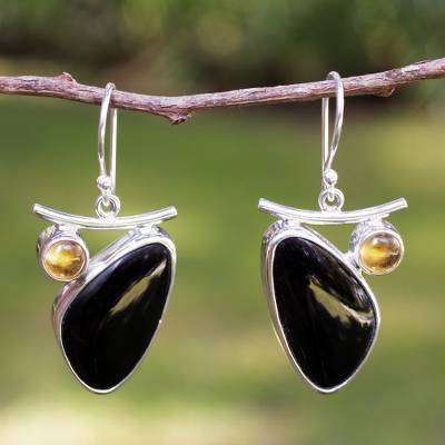 Obsidian and citrine dangle earrings, 'Dewdrop' - Obsidian and citrine dangle earrings