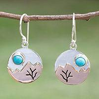 Turquoise dangle earrings, 'Taxco at Dusk' - Fair Trade Taxco Silver and Turquoise Earrings