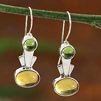 Amber and peridot drop earrings,
