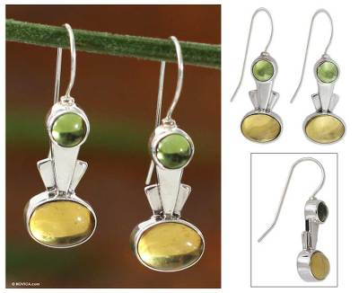 Amber and peridot drop earrings, 'Perpetual Glow' - Amber and peridot drop earrings