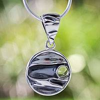 Peridot pendant necklace, 'Taxco Dawn' - Taxco Silver Pendant Peridot Necklace