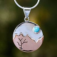 Turquoise pendant necklace, 'Taxco at Dusk' - Collectible Turquoise and Taxco Fine Silver Pendant Necklace