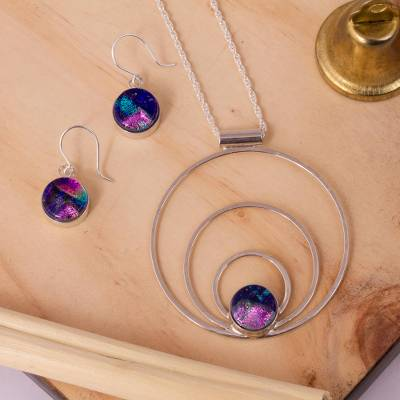 Art glass jewelry set, 'Spirit of the Lake' - Sterling Silver Modern Art Glass Jewelry Set