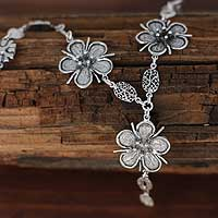 Sterling silver flower necklace, Mysteries