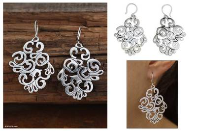 Sterling silver dangle earrings, 'Mystical Garden' - Sterling silver dangle earrings