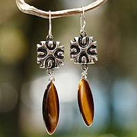 Tiger's eye cross earrings, 'Glow' - Tiger's eye cross earrings