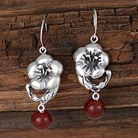 Carnelian flower earrings, 'Elegant Romance' - Carnelian and Silver Flower Earrings Artisan Jewelry