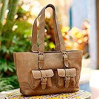 Weathered leather handbag, 'Honey Sierra' - Weathered Leather Handbag from Mexico