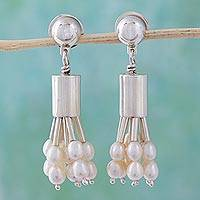 Pearl waterfall earrings, 'Silver Rainfall' - Sterling Silver Waterfall Pearl Earrings