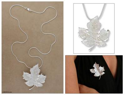 Sterling silver brooch pin pendant necklace, Maple Leaf