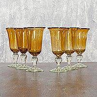Blown glass goblets, 'Golden Glow' (set of 6, medium) - Handblown Glass Wine Goblets from Mexico (Set of 6)