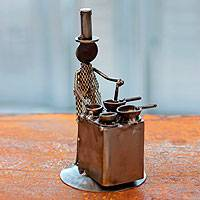 Iron statuette, 'Rustic Chef' - Recycled Metal Sculpture Rustic Mexico Eco Art