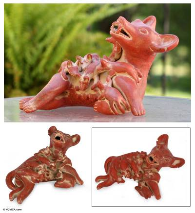 Ceramic figurine, 'Colima Dog with Puppies' - Prehispanic Style Handmade Sculpture Mexico