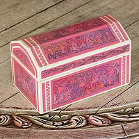 Wood decorative box, 'Pink Party Animals' - Wood decorative box