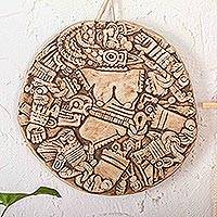 Ceramic wall plaque, 'Aztec Moon Goddess' - Collectible Archaeological Replica Mexico Ceramic Plaque