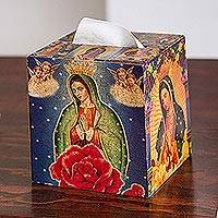 Decoupage square tissue box,
