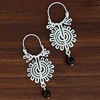 Onyx hoop earrings, 'Xico Flower' - Hand Made Mexican Silver and Onyx Floral Earrings