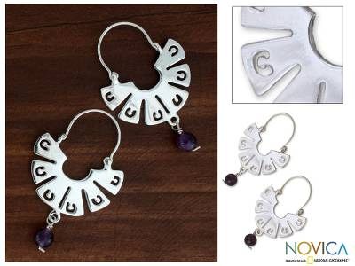 Amethyst hoop earrings, 'Wings' - Amethyst hoop earrings