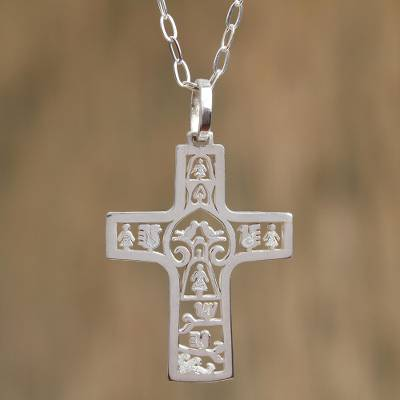 Sterling silver cross necklace, Cross of Life