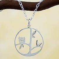Sterling silver pendant necklace, 'Circle of Life' - Handcrafted Sterling Silver Pendant Bird Necklace