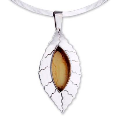 Amber and Sterling Silver Choker from Mexico