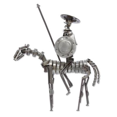 Rustic Don Quixote Mexico Recycled Metal Auto Parts Art
