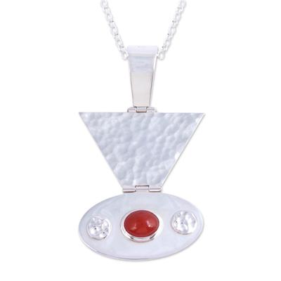 Modern Fine Silver Carnelian Pendant Necklace