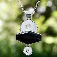 Obsidian pendant necklace, 'Nocturnal Aesthetics' - Obsidian pendant necklace