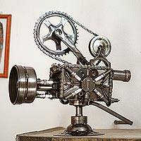 Auto parts sculpture, Rustic Film Projector - Collectible Recycled Metal Movie Theater Sculpture