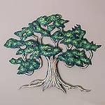 Unique Hand Painted Mexican Steel Wall Art (Large), 'Ancient Shade Tree'