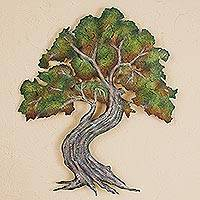 Steel wall art, 'Forest Bonsai' (23 inch) - Bonsai Tree 23 Inch Steel Wall Art from Mexico