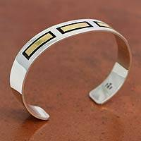 Men's gold accent cuff bracelet, 'Structures' - Men's Hand Made Taxco SilverGold Accent Cuff Bracelet