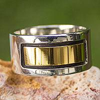 Men's gold accent band ring, 'Structures' - Men's Taxco Silver and Gold Accent Band Ring
