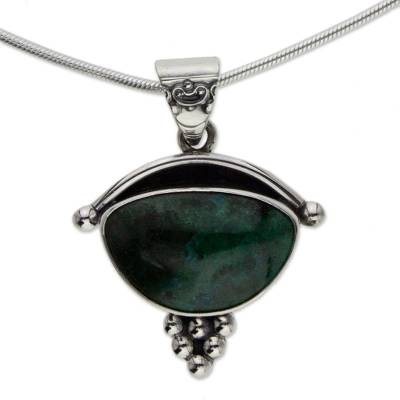 Handmade Mexico Chrysocolla and Silver Pendant Necklace