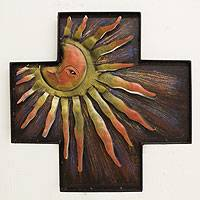 Iron wall sculpture, 'Cross of Divine Dawn' - Fair Trade Religious Steel Wall Art Cross and Sun
