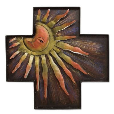 Fair Trade Religious Steel Wall Art Cross and Sun