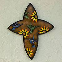 Iron wall sculpture, 'Resurrection' - Women's Christianity Steel Bird Cross
