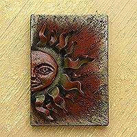 Iron wall adornment, 'Autumn Sun' - Unique Sun and Moon Steel Wall Panel