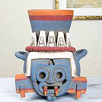 Ceramic vessel, 'God of Rain and Lightning' - Handcrafted Archaeological Ceramic Aztec Sculpture