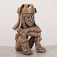 Ceramic figurine, 'Rain God Tlaloc' - Hand Crafted Mexican Aztec Archaeological Ceramic Sculpture