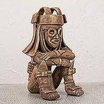 Hand Crafted Mexican Aztec Archaeological Ceramic Sculpture, 'Rain God Tlaloc'