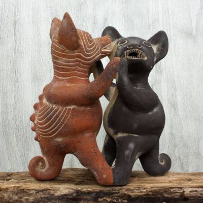 Ceramic figurine, 'Dancing Colima Dogs' - Mexico Pre Hispanic Museum Replica Figurine Crafted by Hand