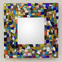 Stained glass mirror, 'Symphony of Color' - Stained glass mirror