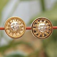 Gold accent button earrings, 'Sun King' - Unique Astrological Gold Plated Button Earrings