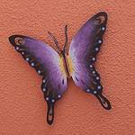 Hand Made Purple Butterfly Steel Wall Sculpture Mexico, 'Soul of Wisdom'